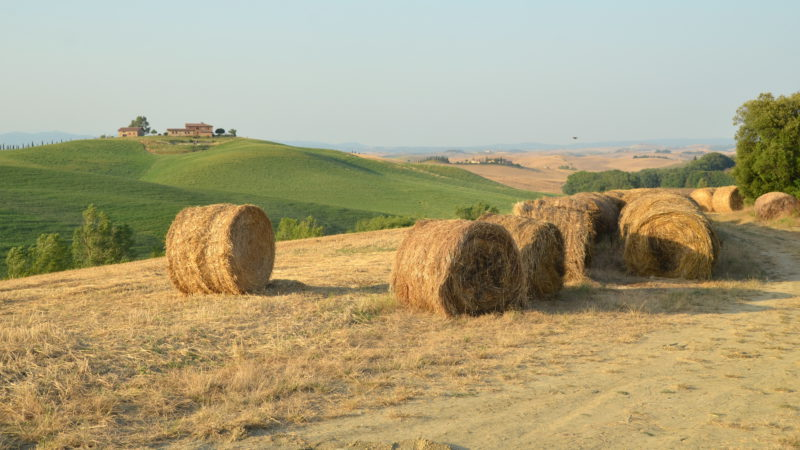 Hay bales in foreground in Tuscany, Italy - Virginie Suys Photo Canvas HD