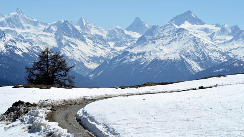 Snowy mountains landscape, Valais, Switzerland -Virginie Suys Photo Canvas