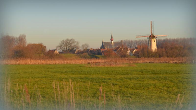 Village with windmill, Belgium -Virginie Suys Photo Canvas HD