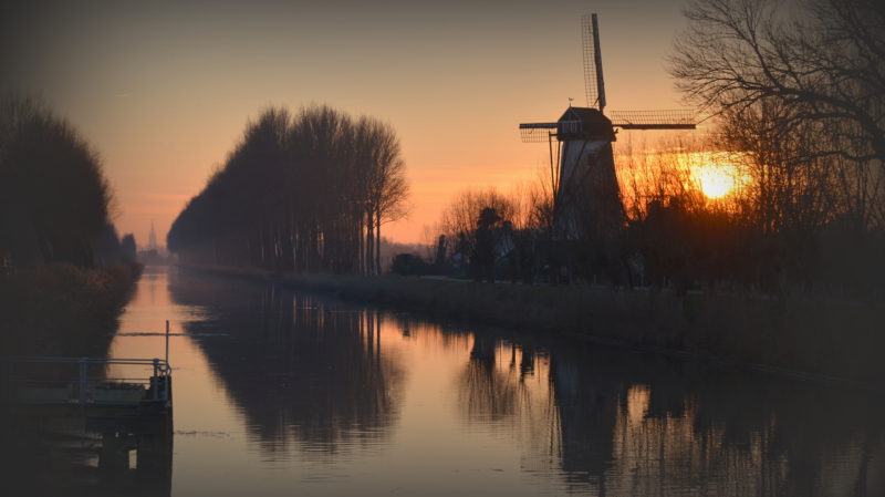 Tree lane and windmill by the river by yellow-orange sunset in Damme, Belgium - Virginie Suys Photo Canvas HD