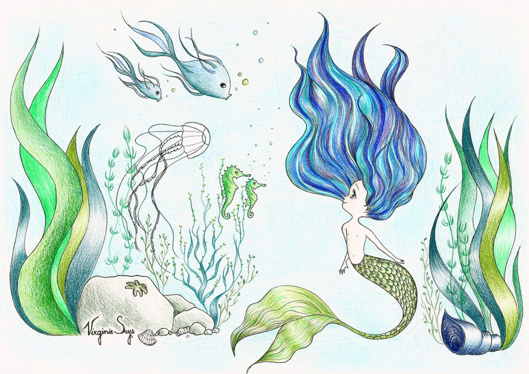 Virginie Suys mermaid in green & blue illustration